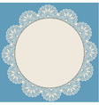 Light beige round lacy frame on blue background vector image vector image
