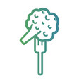 line broccoli fork in the fork utensil vector image vector image