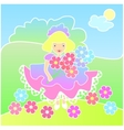 Little girl with flowers on the Meadow vector image vector image