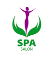 logo girl on the leaves for spa salon vector image vector image