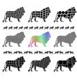 Male lion silhouette mosaic set vector image vector image