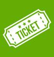 movie ticket icon green vector image vector image
