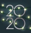new 2020 year greeting card shining garland vector image
