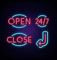 open close 24 7 and arrow neon signs neon icon vector image vector image
