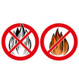 prohibiting sign no fire emblem hand drawn vector image vector image