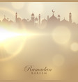 ramadan kareem card with mosque silhouette vector image vector image