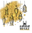 ramadan sale background with gold space vector image
