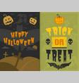 set happy halloween greeting card vector image vector image
