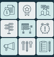 set of 9 project management icons includes time vector image vector image