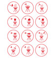 set of barbecue icons vector image vector image