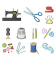 sewing atelier cartoon icons in set collection vector image vector image