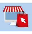 shopping online e-commerce bag gift computer vector image vector image