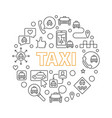 taxi concept round in thin vector image vector image