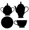tea set black flat icons vector image