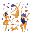 three happy dancing pody positive women girls vector image