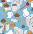 Toilet seamless pattern Toilet and plunger Shit vector image vector image