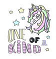 unicorn head and one of a kind lettering on the vector image vector image
