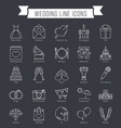 wedding line icons vector image vector image