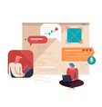 young people communicate on the internet virtual vector image vector image