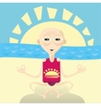 Abstract of yoga man sitting on the beach vector image