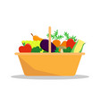 basket with a seasonal harvest farmer fruit and vector image