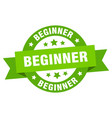 beginner ribbon beginner round green sign beginner vector image vector image