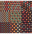 Big set of nine brown retro seamless patterns vector image