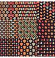 Big set of nine brown retro seamless patterns vector image vector image