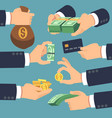 businessman hand holding money flat icons for vector image vector image