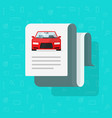 car document text flat vector image