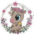 cartoon cow with flowers on a white background vector image vector image