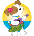 cute puppy hawaii vector image vector image