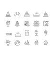 dessert line icons signs set outline vector image vector image