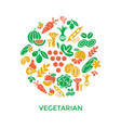 digital green red yellow vegetable icons vector image vector image