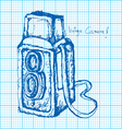 drawing of vintage camera on graph paper vector image vector image