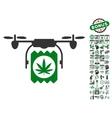 Drone Cannabis Delivery Icon With Bonus vector image vector image