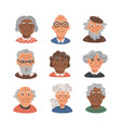 elderly people avatar set portraits old people vector image vector image