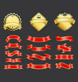 gold coats of arms with ribbons decoration vector image