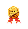 golden badge with red tape glossy best seller vector image vector image