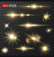 golden light sparkle glitter shine glow flashes vector image