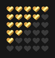 golden rating hearts panel set vector image vector image