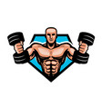 gym bodybuilding sport logo or label muscular vector image vector image