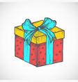 hand drawn colorful birthday or christmas gift vector image