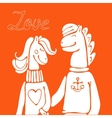 Hand drawn elegant card with cute horse couple vector image vector image