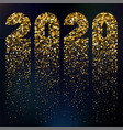 happy 2020 new year card with glitter vector image