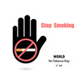human hands and quit tobacco logo design vector image