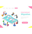 Isometric flat landing page template of