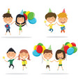 jumping cute couples carrying colorful wrapped vector image vector image