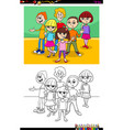 kids and teen characters group color book vector image vector image