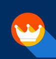 king crown sign white icon on tangelo vector image vector image